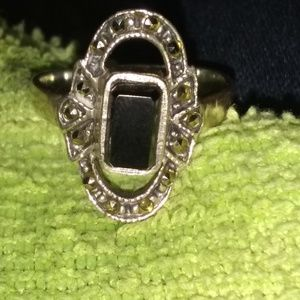 Antique vintage onyx cocktail ring 925 stamped